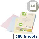 A4 Pastels Assorted Coloured Copier Paper 80gsm Ream Q-Connect