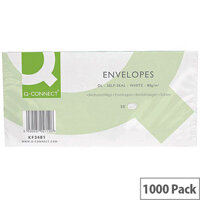 Q-Connect Envelope DL 80gsm White Self-Seal 20 Pack of 50 Envelopes KF02712