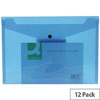 A4 Envelope Wallet Plastic Transparent Blue Pack 12 Q-Connect