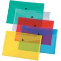 A4 Envelope Wallet Plastic Transparent Assorted Pack 12 Q-Connect