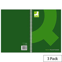 Q-Connect A5 Wirebound Book Recycled Black 3 Pack KF03732