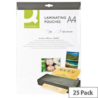 Q-Connect Laminating Pouch A4 250 Microns in Total Pack of 25