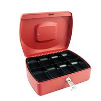 Q-Connect  Standard 10 Inch Key Lock Cash Box Red