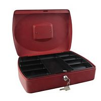 Q-Connect Large 12 Inch Key Lock Cash Box Red 8 Coin Compartments
