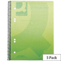 Q-Connect Spiral Book A5 Polypropylene Transparent Green 5 Pack KF10033