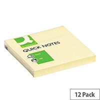 Q-Connect Repositionable Quick Sticky Note Cube 76x76mm 100 Sheets Yellow Pack 12 KF10502