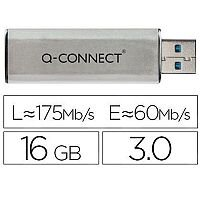 Q-Connect 16GB USB 3.0 Slider Memory Stick Silver/Black