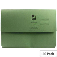 Document Wallet Half Flap Foolscap Green Pack 50 Q-Connect