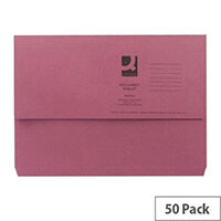 Document Wallet Half Flap Foolscap Pink Pack 50 Q-Connect