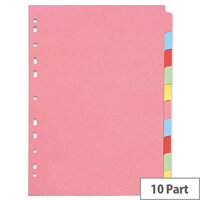 Q-Connect A4 Subject Divider Multi-Punched 10 Part – Eco-Friendly, Customise, Colour-Coded, Fits Standard A4 Binders & Ideal for Home/Office (KF26082)
