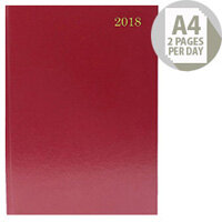 Desk Diary A4 2 Pages Per Day 2018 Burgundy KF2A4BG18
