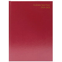 Desk Diary 2 Pages Per Day A4 Burgundy 2021 KF2A4BG21