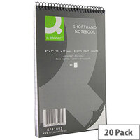 Shorthand Notebook 80 Leaf Ruled Feint 203x127mm 20 Pack Q-Connect