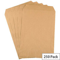 Q-Connect C4 Mediumweight Manilla Envelopes Pocket Press Seal Pack 250 KF3419