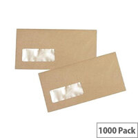 Q Connect Envelope DL Low Window 70gsm Manilla Gummed Pack of 1000