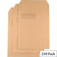 Q-Connect Envelope C4 Window 115gsm Basketweave Self-Seal (Pack of 250)