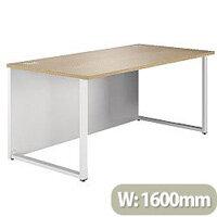 Rectangular Hoop Leg Desk 1600mm Wide Natural Oak Arista