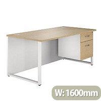 Rectangular Hoop Leg Desk With 2 Drawer Fixed Pedestal 1600mm Natural Oak Arista
