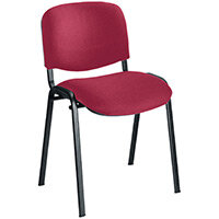 First Ultra Multi Purpose Stacking Chair Claret Fabric & Black Metal Frame KF74892