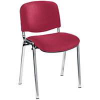 First Ultra Stacking Chair Claret Fabric Chrome Frame KF74895