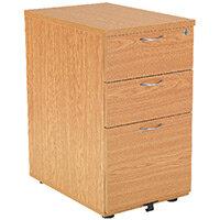 First Desk High Pedestal 3 Drawer 600mm Deep Oak KF74910