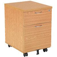First Mobile Under Desk Pedestal 2 Drawer Oak KF74914