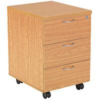 First Mobile Under Desk Pedestal 3 Drawer Oak KF74916