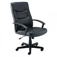 Hudson Leather Look Executive Managers Office Chair Black - Weight Capacity Of 18 Stone. 5 Star Castor Base & Fixed Arms. Ideal For Use In Offices, Homes, Schools, Colleges & More.