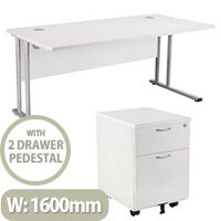 BUNDLE OFFER Rectangular 1600mm Wide Office Desk in White With 2 Drawer Pedestal