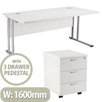 BUNDLE OFFER Rectangular 1600mm Wide Office Desk in White With 3 Drawer Pedestal