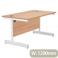 Jemini Rectangular Desk White Cantilever Leg 1200mm Beech KF838793