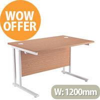 Rectangular 1200mm Wide Double Cantilever White Leg Office Desk in Beech
