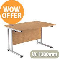 Rectangular 1200mm Wide Double Cantilever Silver Leg Office Desk in Oak