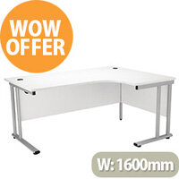 Radial Right Hand 1600mm Wide Double Cantilever Silver Leg Office Desk in White