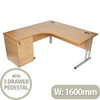 BUNDLE OFFER Radial Left Hand Desk With Desk High 3 Drawer Pedestal Oak