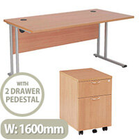 BUNDLE OFFER Rectangular 1600mm Wide Office Desk in Beech With 2 Drawer Pedestal
