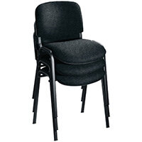First Ultra Multi Purpose Stacking Chair Charcoal Fabric & Black Metal Frame KF98505