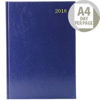 Desk Diary A4 Day/Page Appointments 2018 Blue KFA41ABU18