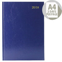 Desk Diary A4 2 Days Per Page 2018 Blue KFA42BU18