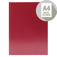Desk Diary A4 Week to View 2020 Burgundy KFA43BG20