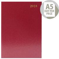 Desk Diary A5 Day/Page 2018 Burgundy KFA51BG18
