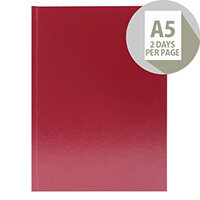 Desk Diary A5 2 Days Per Page 2020 Burgundy KFA52BG19