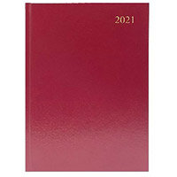 2021 A5 Desk Diary 2 Days Per Page Burgundy KFA52BG21