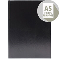 Desk Diary A5 2 Days Per Page 2020 Black KFA52BK20
