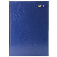 2021 A5 Desk Diary 2 Days Per Page Blue KFA52BU21