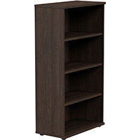 Medium Tall Bookcase with Adjustable Shelves and Floor-leveller Feet W800xD420xH1490mm Dark Walnut Kito