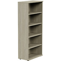Tall Bookcase with Adjustable Shelves and Floor-leveller Feet W800xD420xH1850mm Arctic Oak Kito