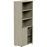 Tall Cupboard Part-Open Lockable Bottom Doors W800xD420xH1850mm Arctic Oak Kito