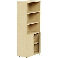 Tall Cupboard Part-Open Lockable Bottom Doors W800xD420xH1850mm Maple Kito