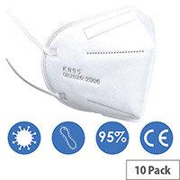 KN95 FFP2 Filter Respirator Face Mask (GB2626-2006) Pack of 10 Ref:KN95FFP2-10